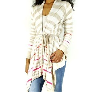 Anthropologie Moth Striped Belted Drape Cardigan